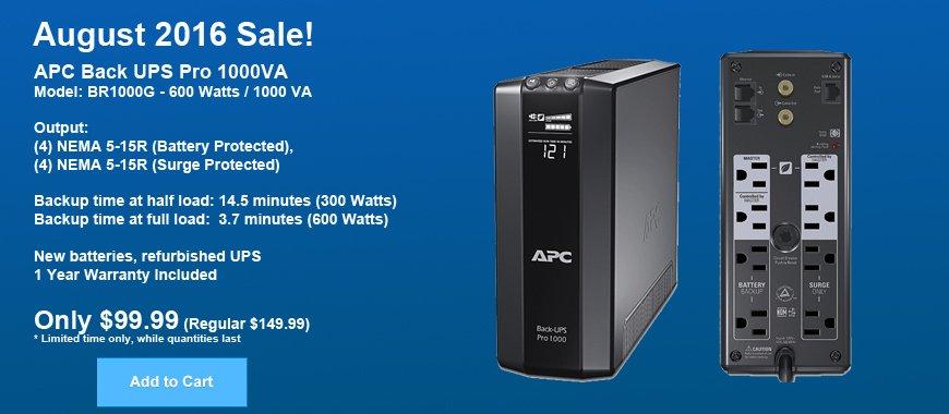 APC Back-UPS Pro 1000VA BR1000G On Sale August 2016