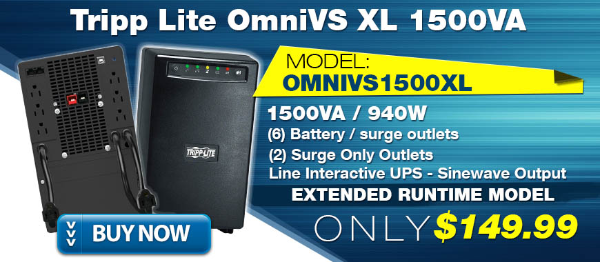 Tripp Lite OmniVS 1500VA 1.5KVA 940W OMNIVSL1500XL ON SALE for Only $149.99